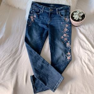 Silver Elyse Skinny Embroidered Medium Wash Jeans